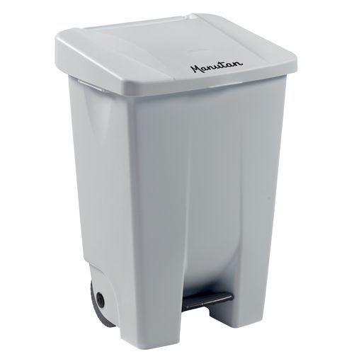 Plastový odpadkový koš Manutan Handy, objem 80 l, bílý/bílý - Prodloužená záruka na 10 let