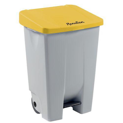 Plastový odpadkový koš Manutan Handy, objem 80 l, bílý/žlutý