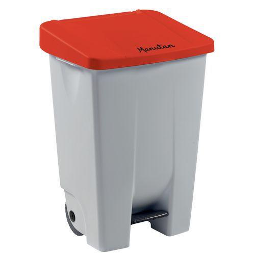 Plastový odpadkový koš Manutan Handy, objem 80 l, bílý/červený