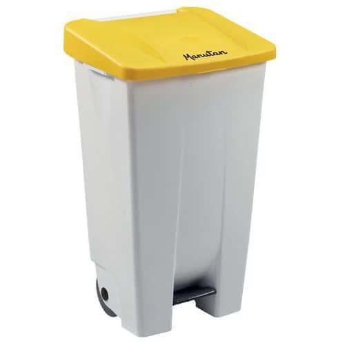Plastový odpadkový koš Manutan Handy, objem 120 l, bílý/žlutý