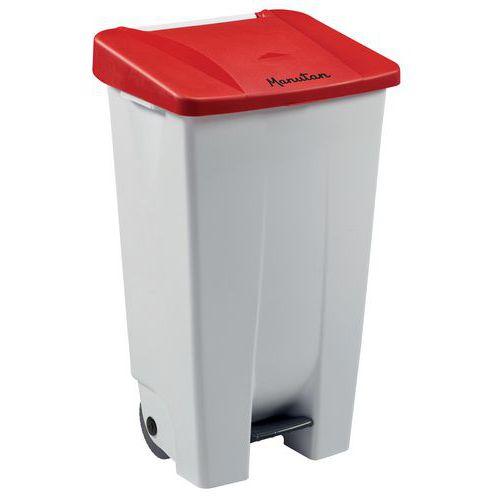 Plastový odpadkový koš Manutan Handy, objem 120 l, bílý/červený