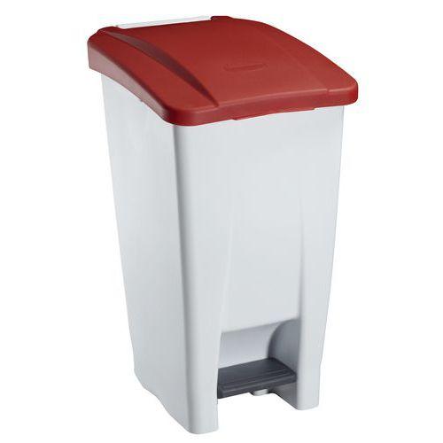 Plastový odpadkový koš Manutan, objem 60 l, bílý/červený