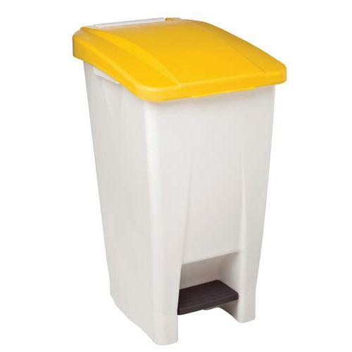 Plastový odpadkový koš Manutan, objem 60 l, bílý/žlutý