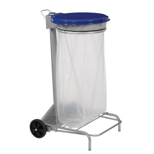 Pojízdný stojan Manutan Kelis na odpadkové pytle s víkem, modrý