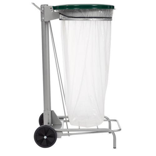 Pojízdný stojan Manutan Kelis na odpadkové pytle s víkem, zelený