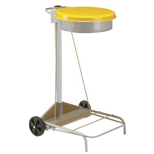 Pojízdný stojan Manutan Kelis na odpadkové pytle s víkem, žlutý