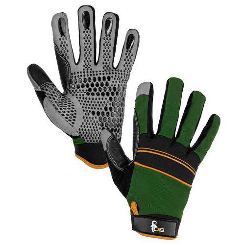 Kožené rukavice CXS Caraz ze syntetické kůže s terčíky, zelené/černé