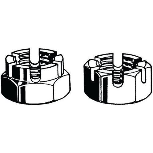 Šestihranná nízká korunková matice s drážkou DIN 979 Ocel Pravý