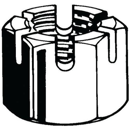 Šestihranná korunková matice s drážkou UNF BS 1768 Ocel Pravý Be