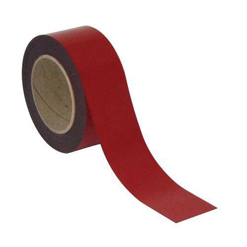 Magnetická páska na regály Manutan, 10 m, červená, šířka 100 mm