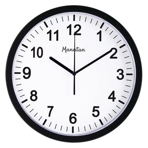 Analogové hodiny RS3 Manutan, autonomní DCF, průměr 30 cm, černé