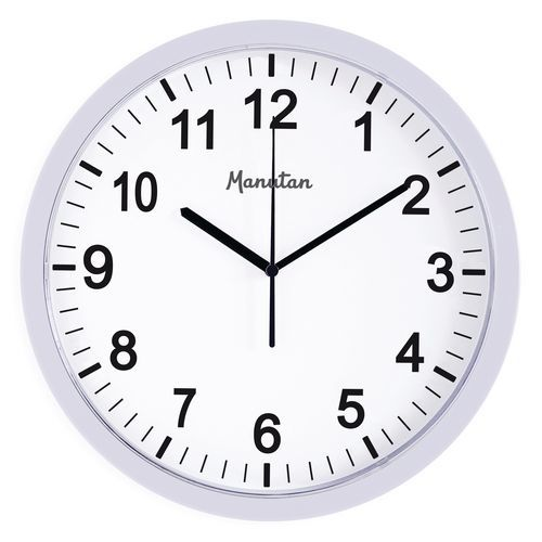 Analogové hodiny RS3 Manutan, autonomní DCF, průměr 30 cm, bílé