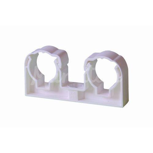 Příchytka dvojitá se třmenem 2x22mm bílá UNI, 50ks
