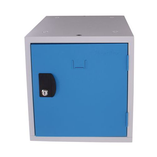 Svařovaný šatní box Manutan Frank, šedý/modrý