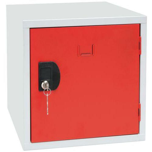 Svařovaný šatní box Manutan Frank, šedý/červený