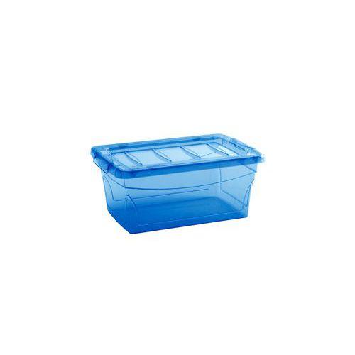 Plastový úložný box s víkem, modrý, 11 l
