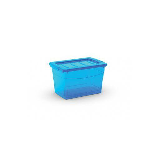 Plastový úložný box s víkem, modrý, 16 l