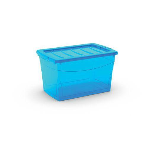 Plastový úložný box s víkem, modrý, 29 l