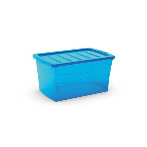 Plastový úložný box s víkem, modrý, 50 l