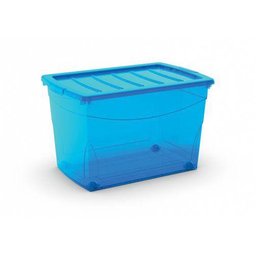 Plastový úložný box s víkem, modrý, 60 l