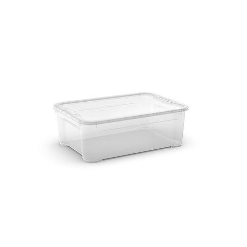 Plastový úložný box s víkem, průhledný, 31 l