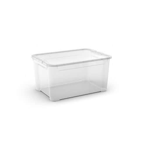Plastový úložný box s víkem, průhledný, 47 l