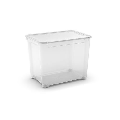 Plastový úložný box s víkem, průhledný, 70 l