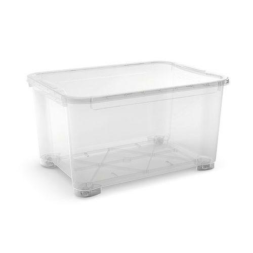 Plastový úložný box s víkem, průhledný, 145 l