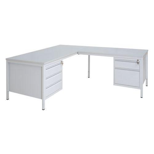 Rohový kancelářský stůl se dvěma kontejnery Basic, 200 x 160 cm, levé provedení - Prodloužená záruka na 10 let