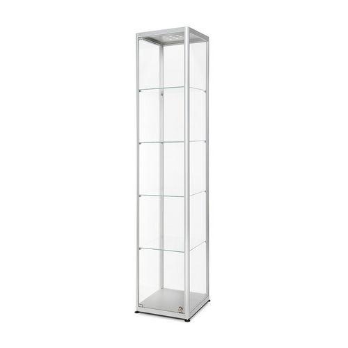 Skleněná produktová vitrína Dekor s osvětlením, 40 x 50 x 200 cm