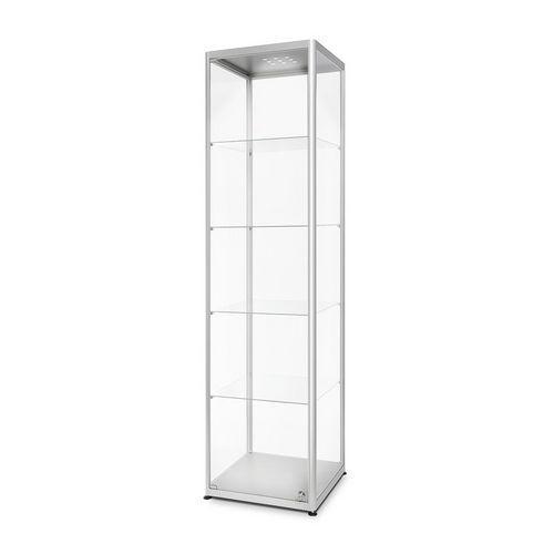 Skleněná produktová vitrína Dekor s osvětlením, 50 x 50 x 200 cm