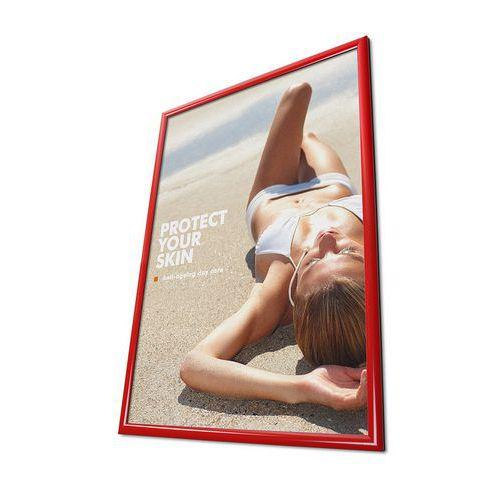 Rám na plakáty P25, ostré rohy, červený, B2 - Prodloužená záruka na 10 let