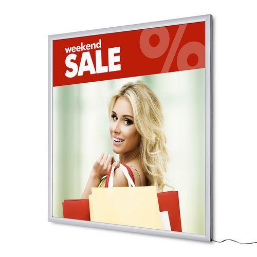 Rám na plakáty Slim s LED osvětlením, 100 x 100 cm - Prodloužená záruka na 10 let