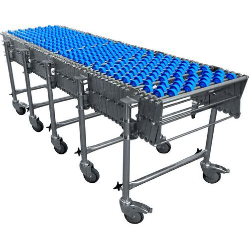 Nůžkový dopravník s plastovými rolnami, šířka 500 mm, 32 os