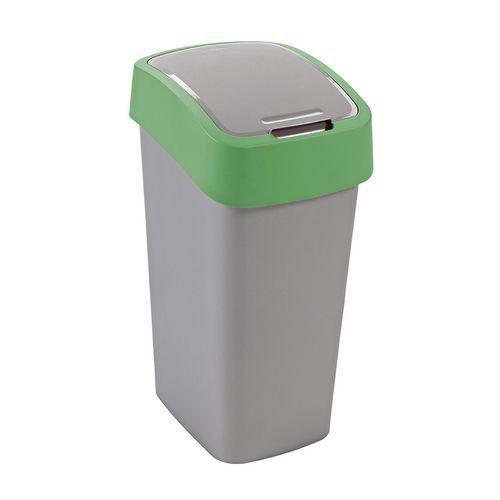 Plastový odpadkový koš Pacific, objem 50 l, stříbrný/zelený