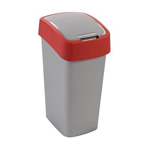 Plastový odpadkový koš Pacific, objem 50 l, stříbrný/červený