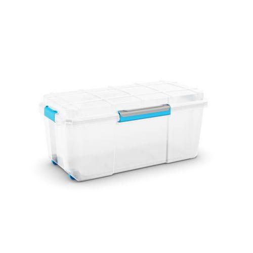 Plastový úložný box s víkem na klip, průhledný, 74 l - Prodloužená záruka na 10 let