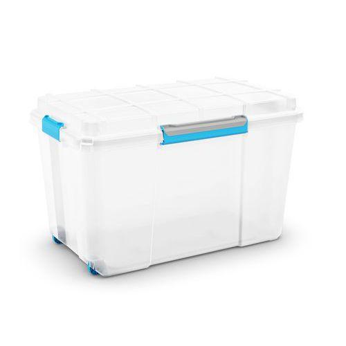 Plastové úložné boxy s víkem na klip, průhledné, Kapacita: 106 L, Celková výška: 460 mm, Celková šíř