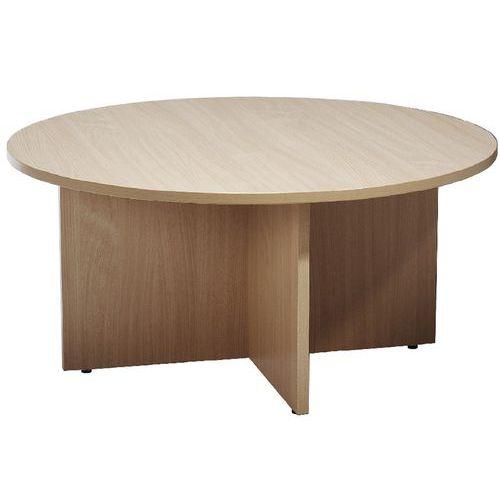Kruhový konferenční stůl Manutan, 100 cm, dezén buk - Prodloužená záruka na 10 let