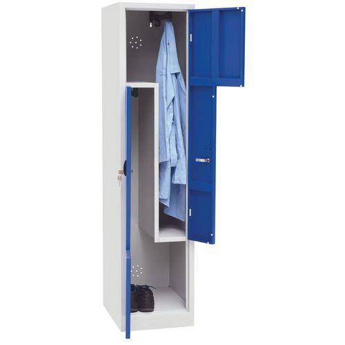 Svařovaná šatní skříň Carl, dveře Z, 2 oddíly, cylindrický zámek