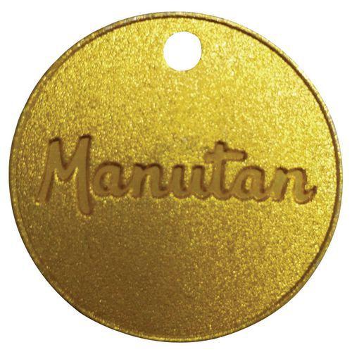 Mosazný žeton Manutan, průměr 30 mm, číslovaný 001 - 100