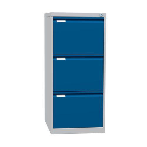 Jednořadá kovová kartotéka A4 Tyne, 3 zásuvky, modrá/šedá - Prodloužená záruka na 10 let