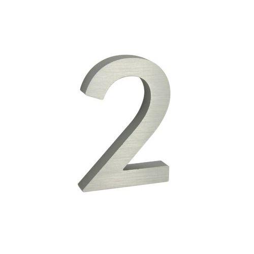 """Hliníkové číslo v 3D provedení s broušeným povrchem, znak """"2"""", s"""