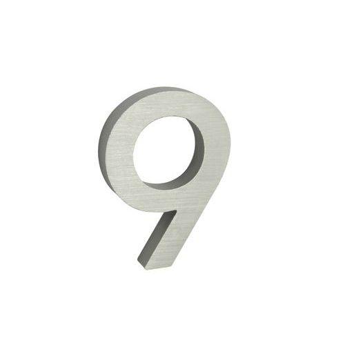 """Hliníkové číslo v 3D proveden?? s broušeným povrchem, znak """"9"""","""