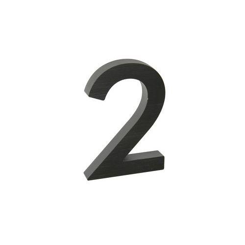 """Hliníkové číslo v 3D provedení s broušeným povrchem, znak """"2"""", č"""