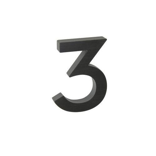 """Hliníkové číslo v 3D provedení s broušeným povrchem, znak """"3"""", č"""