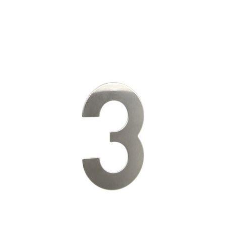 """Nerezové číslo ve 2D provedení, výška 145 mm, znak """"3"""""""