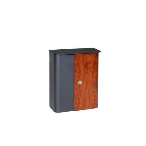 Kovová schránka s dveřmi v imitaci dřeva