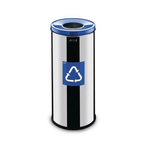 Kovový odpadkový koš Prestige EKO na tříděný odpad, objem 45 l, modrý