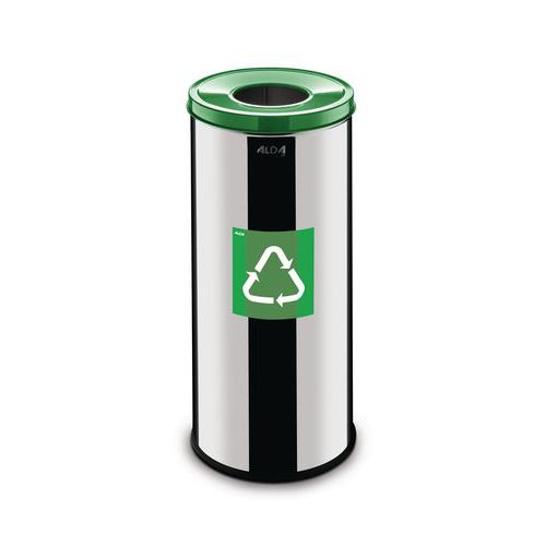 Kovový odpadkový koš Prestige EKO na tříděný odpad, objem 45 l, zelený